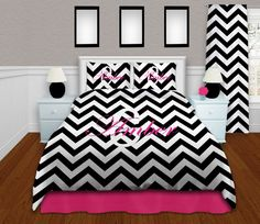 Chevron twin xl Comforter, Black and White Bedding Set Queen, Dorm XL Twin Bedding, Personalized Comforter, King Bedding ANY COLOR # 91 by EloquentInnovations on Etsy https://www.etsy.com/listing/195881759/chevron-twin-xl-comforter-black-and
