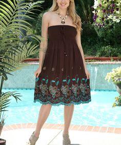 Look at this #zulilyfind! Brown Floral Convertible Strapless Dress #zulilyfinds