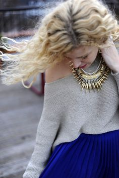 navy skirt, grey loose sweater + statement necklace