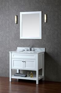"""Product Details: cUPC-certified rectangular undermount sink Color: Alpine White Matching wood-framed 27.6""""""""W x 32.3""""""""H mirror included Vanity Dimensions: 36""""""""L x 22""""""""W x 34.6""""""""H Dimensions: L 36 """""""" x"""