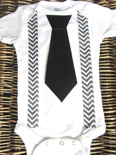 Baby Boy Tie and Grey Chevron Suspenders Onesie