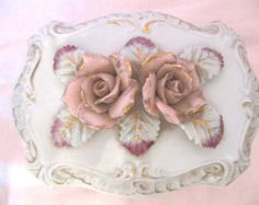 Vintage Ceramic White Big Pink 3-D Raised Roses Jewelry Box Trinket Footed Gold Trim VERY Ornate Victorian Shabby Cottage Chic Romantic - Edit Listing - Etsy