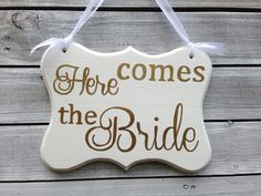 Excited to share the latest addition to my #etsy shop: Ring Bearer Sign, Here Comes The Bride, Mr and Mrs Sign, Cottage Chic Wedding Decor http://etsy.me/2AUNWKw
