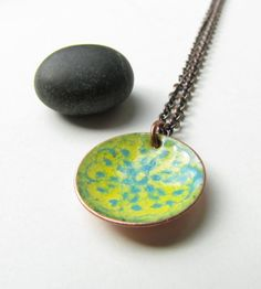Sundial torch fired enamels and copper pendant