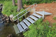 Aluminum Dock Stairs - Great Northern Docks - Open frame structure and porous treads let waves pass through. Outdoor stairs for docks, hills & nature trails Lakeside Cottage, Lake Cottage, Cottage Stairs, River Cottage, Lake Dock, Boat Dock, Horticulture, Landscape Stairs, Landscape Plans