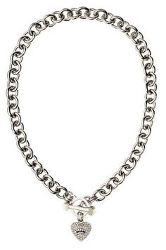 Juicy Couture Jewelry Pave Heart Charm Luxe Silver Necklace New 2013