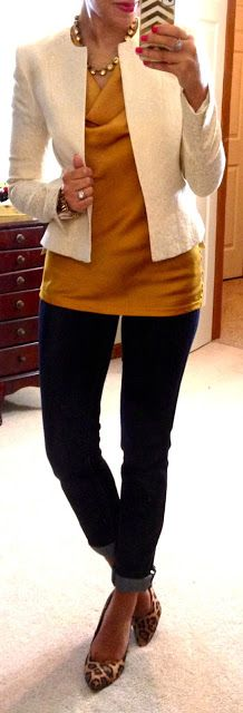 Classy. .. Mustard blouse /Crop white jacket/ Skinny jeans/ leopard print flats & gold necklace!