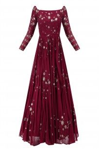 Dark Maroon Floral Work Off Shoulder Anarkali Gown #asthanarang #shopnow #ppus #happyshopping