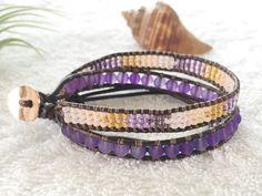 Purple Sea Glass Bracelet - Beaded Leather Wrap Bracelet - Antique Brown Leather - Surf Bracelet Beachy Wrap Bracelet Surf Chic by PinaHina on Etsy https://www.etsy.com/listing/278670004/purple-sea-glass-bracelet-beaded-leather