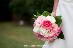 Pink and white bridal bouquet with ranunculus flowers from the Enchanted Florist, Photo by Chris and Adrienne Scott.
