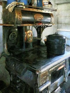 'Coal Stove': Fine Art Prints by Susan Savad - Design of an coal stove in an old fashioned kitchen with a homey pot of soup simmering on it  #stove #coalstove #kitchen AS LOW AS $32