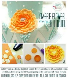 easy ombre flower tutorial - by mdt @ CakesDecor.com - cake decorating website