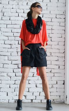 Black Loose Shorts/Linen Short Casual Pants/Extravagant Drop Crotch Shorts/Large Asymmetrical Pockets Pants/Black Maxi Pants