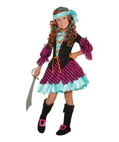 Look at this Teal & Pink Salty Taffy Pirate Dress-Up Set - Kids on #zulily today!