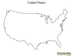 Blank, Printable Map of the USA, United States, America with state ...