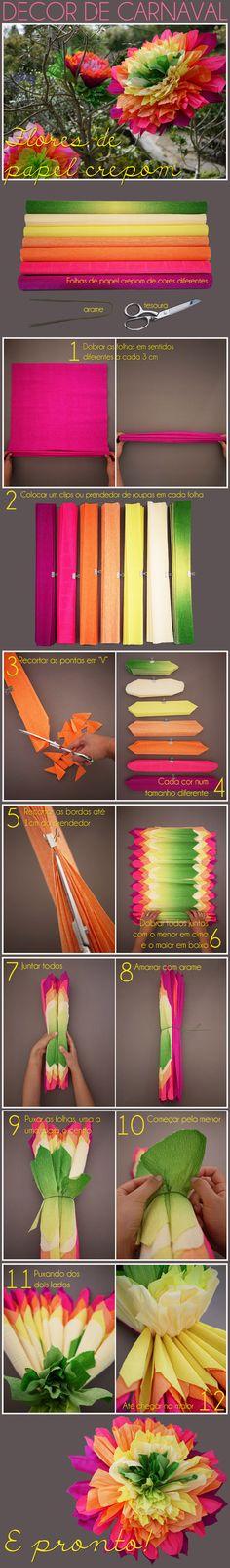 """dobrar as folhas, cor por cor, em """"zigzag"""" e a cada 3 centímetros (1)! Prender com um clips ou um prendedor de roupas em cada uma (2)!  Recortar as pontas em """"V"""" (3), (4) Recortar as bordas do """"zigzag"""" até 1cm do prendedor, para não correr o risco da folha se rasgar (5)! Em seguida, dobrar tudo junto do menor para o maior, encaixando todas a dobras (6) e, uma vez todos juntos (7), amarrar com um arame (8)! Puxar cor por cor (9), do menor para o maior (10), dos dois lados (11) até o final"""