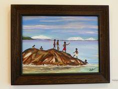 Acrylic painting - Boys on the Beach - www.harrisartstudio.com