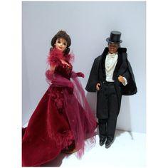 Mattel Barbie & Ken, Gone With The Wind Dolls, 1994 Vintage Barbie Dolls, Mattel Barbie, Barbie And Ken, Velvet Gown, Red Velvet, Rhett Butler, Scarlett O'hara, Ken Doll, Gone With The Wind