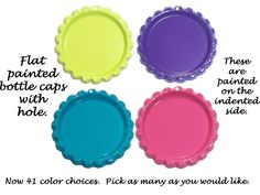 Flat painted #bottle #caps, bottle cap, cabochon, charms - WITH HOLE - Qty 75 #thecraftstar $15.00
