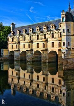 Le château de Chenonceau Still day, gentle river, early morning.