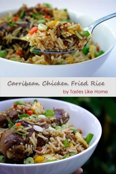 Chicken Fried Rice:Each country and each household has it's own recipe of ingredients for Chicken Fried Rice and method of making it. One thing that we call agree on is that it should have a lot of vegetables. The version I present to you today is one made up from different home cooks.