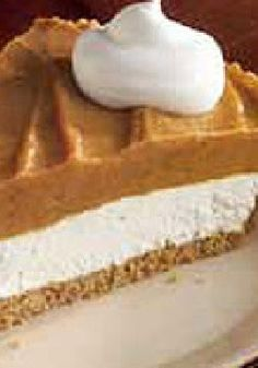 Creamy Two-Layer Pumpkin Pie -- Super cool. Super whipped. The recipe secret to this layered take on pumpkin pie is the creamy yet airy combo of cream cheese and COOL WHIP Whipped Topping.