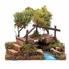 Fluß mit Brücke und Flechtebäumen: Krippenszene