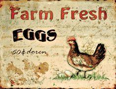 "Fresh Eggs Tin Plaque. Height: 10.5"" - 27cm Width: 14"" - 35cm"