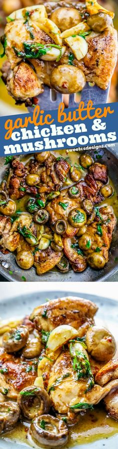 One Pot Garlic Butter Chicken Thighs and Mushrooms Recipe