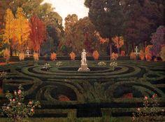 Poster Leinwand Bild Artland Santiago Rusinol y Prats Gartenlabyrinth mit Faun-Statue. Garden Arbor, Garden Park, Spanish Painters, Spanish Artists, Sitges, Art Espagnole, Statue, Digital Museum, Winter Scenery