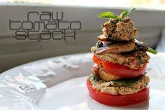 "RAW + Vegan + Gluten Free Tomato Stack with ""Pizza Ricotta"""
