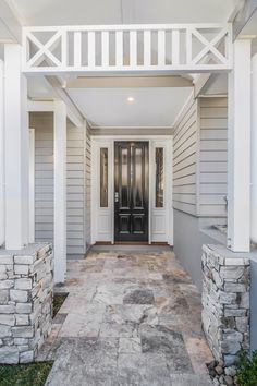 Hamptons home design in Grange Brisbane design and construct new home builder Cottage Exterior, Modern Farmhouse Exterior, House Paint Exterior, Dream House Exterior, Exterior House Colors, Exterior Doors, Hamptons Style Homes, Hamptons House, The Hamptons