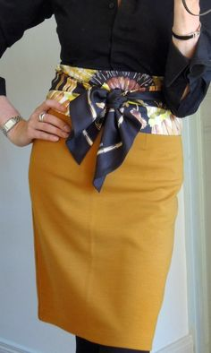 Love it! Mustard pensil skirt + black shirt + scarf-belt. See more ways to wear a scarf: http://www.stylistnotes.co.uk/2014/02/3-ways-to-wear-scarf.html