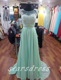 2015 Mint Elegant A-Line Chiffon Scoop Lace Cap Sleeve Beaded Bridesmaid Dresses Real Beautiful Bridal Gown With Train