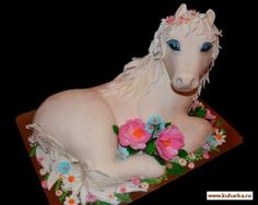 "Step by step pictorial White Horse sitting cake Рецепт: Торт ""Лошадка"""