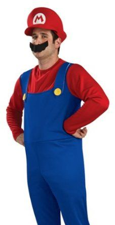 Mens Plus Size Deluxe Super Mario Brothers Costume 46-52