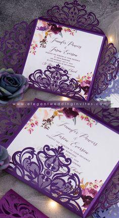 Laser Cut Invitation Enclosure Card Flowery Gate Fold Purple Shimmer CLEARANCE SALE