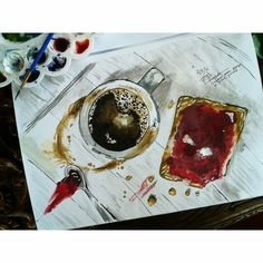 Breakfast food watercolor painting I re-draw as practise from original picture by @bez_povoda  Check out my Instagram @mpupuutt and tell me what you think. And I'm still an amateur artist anyway.. :)