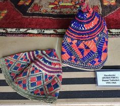Two embroidered 'damat takkesi' (bridegroom's cap), from the village of Durabeyler (ca. 15 km north of Dursunbey, in the eastern part of the Balıkesir province).  1955-1965. Cotton, with cotton embroidery (geometrical design).  Ethnic group: Türkmen.   (Source: Uğur Çelikkol, Karagöz Turizm, Bursa).