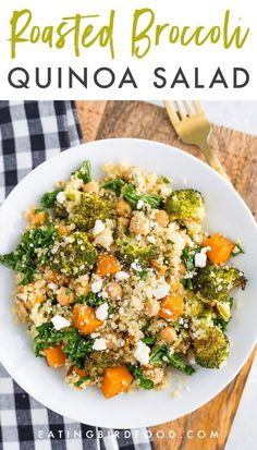 quinoa recipes A delicious roasted broccoli quinoa salad with roasted sweet potatoes, kale and a flavorful lemon dressing. Great as a gluten-free vegetarian main! Quinoa Sweet Potato, Salad With Sweet Potato, Roasted Sweet Potatoes, Veggie Recipes, Diet Recipes, Cooking Recipes, Healthy Recipes, Recipes With Quinoa, Cooking Kale