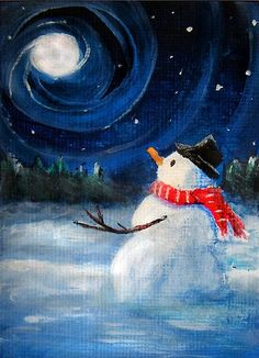 winter scene paintings easy - Google Search