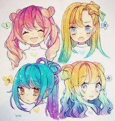 Anime Drawings Sketches, Anime Sketch, Kawaii Drawings, Cute Drawings, Drawing Hair Tutorial, Pelo Anime, Poses References, Arte Sketchbook, Cartoon Art Styles