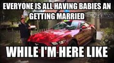 Everyone is having babies and getting married, while I'm here like. My Dream Car, Dream Cars, Ford Humor, Car Memes, My Horse, Cute Funny Animals, Getting Married, Muscle, Lol