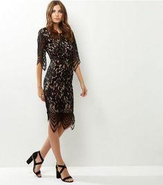 Blue Vanilla Black Lace Overlay Midi Dress | New Look