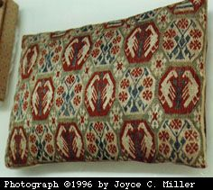 Linen cushion, embroidered brick-stitch. 14th or 15th century. Treasury of Enger. Photo (c)  Joyce C Miller 1996