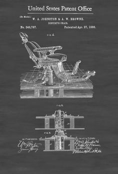 A patent print poster of a Dentist's Chair invented by W.A. Johnston and A.W. Browne. The patent was issued by the United States Patent Office on April 27, 1886.. Patent prints allow you to have a piece of history in your Home, Office, Man Cave, Geek Den or anywhere you wish to add ...