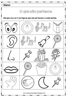 #cincosentidos #alfabetizacao #educacaoinfantil #recursoescolar #ciencias #ensinoinfatil #educacao Preschool Spanish Lessons, Five Senses Preschool, 5 Senses Activities, English Worksheets For Kindergarten, Printable Preschool Worksheets, Preschool Learning Activities, Free Preschool, Preschool Curriculum, Learning English For Kids