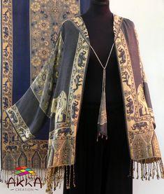 Grey And Beige, Gray, Elephant Pattern, Ethnic Patterns, Long Jackets, Jacket Style, Bohemian Style, Sleeve Styles, Kimono Top