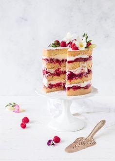raspberry cake with rhubarb