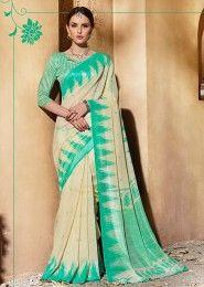 Casual Wear Green Silk Printed Saree